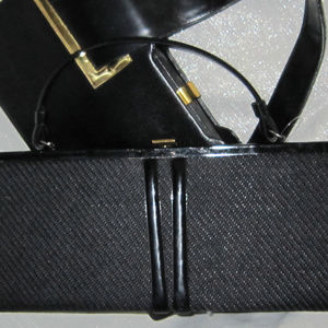 "VINTAGE 60'S FABRIC PATENT LEATHER 16"" BAG PURSE"